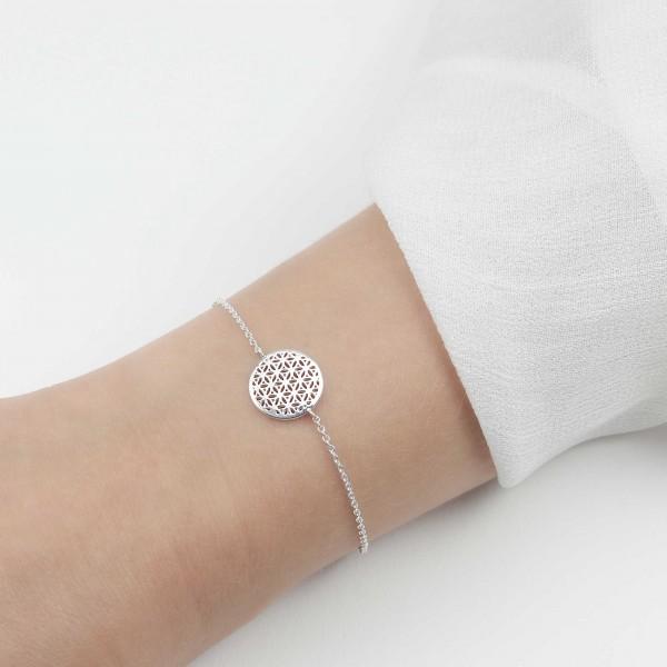 Armkette Blume des Lebens 925 Silber / Armband Lebensblume