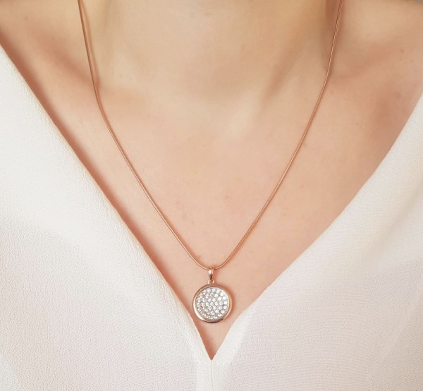 Halskette mit Anhänger Zirkonia Kreis 925 Silber rosevergoldet 50 cm