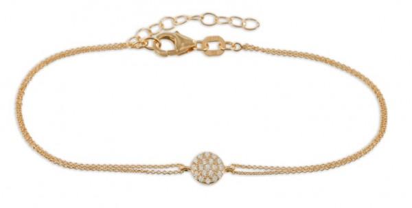 Filigranes Armband Anhänger Zirkonia Kreis 925 Silber rodevergoldet - 19 Zirkoniasteine
