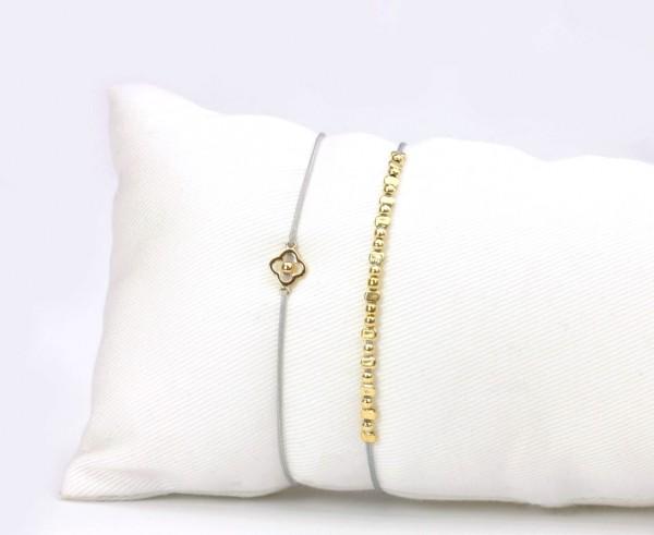 2er Armband-Set Gold-Grau, Blume Element, Perlen - 925 Silber vergoldet