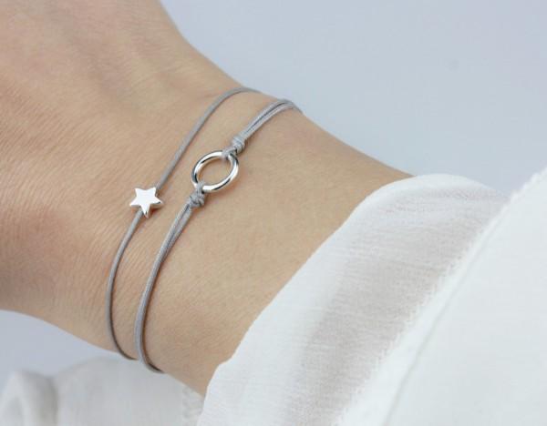 Textil Armband Set Stern / Kreis Grau-Silber 925 Silber