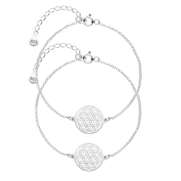 Mutter Tochter Lebensblume Armketten Set 925 Silber | Schmuck Blume des Lebens Armbänder