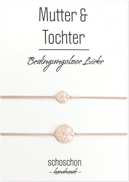 Mutter Tochter Lebensbaum Armband Set 925 Silber rosevergoldet Nude-Rosegold | Schmuck Baum