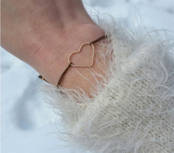 Freundschaftsarmband Herz 925 Silber rosevergoldet Taupe-Rosegold |Liebe Geschenk Valentinstag