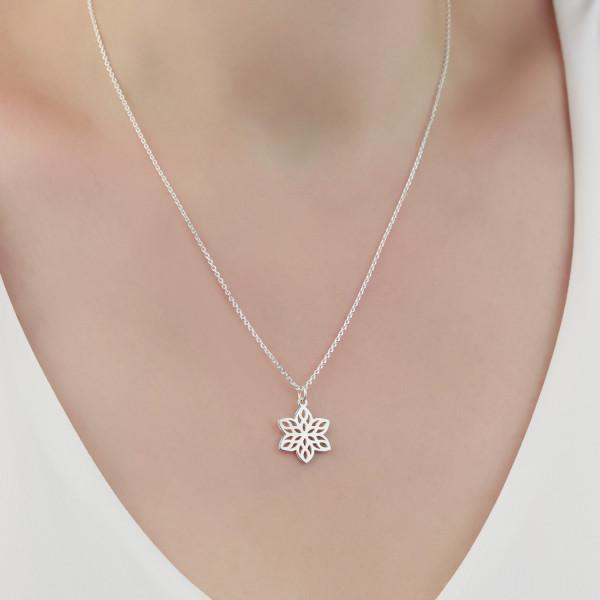 Halskette Blumenanhänger 925 Silber / Blumenkette Mandala Blume Blumenschmuck