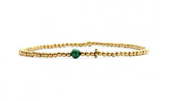 Feines Armband in Gold-Grün, 925 Silber vergoldet | Kugelarmband