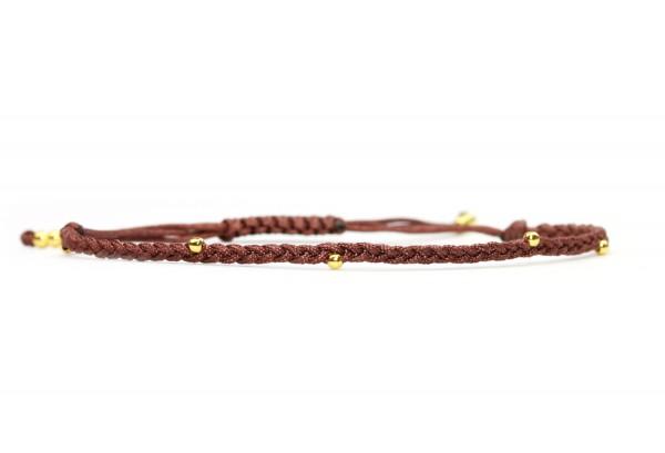 Damen Armband-Textil Geflochten Gold-Braun 925 Silber vergoldet | Individualisierbar Freundschaftsar