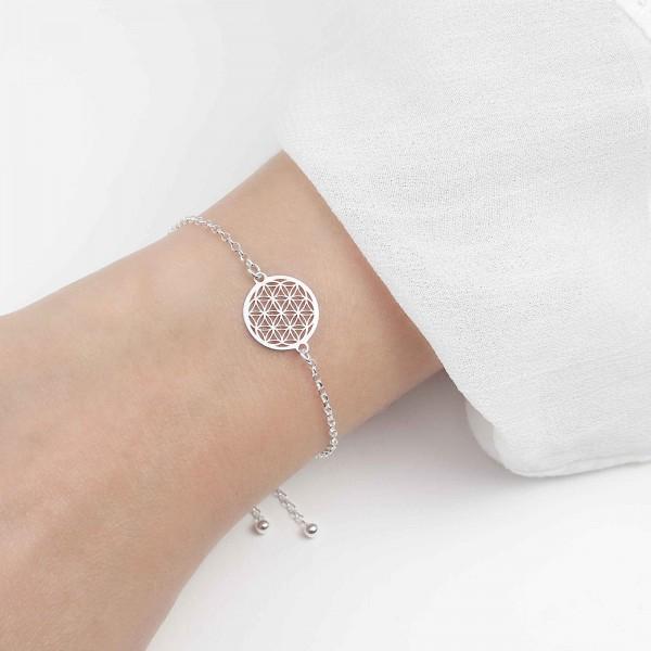 Armband Blume des Lebens 925 Silber verstellbar / Armkette Lebensblume