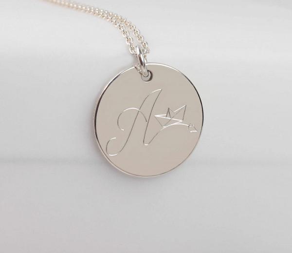 Gravurplättchen Halskette Buchstabe-Papierboot- 925 Silber