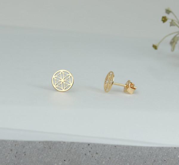 Blume des Lebens Ohrstecker 925 Silber vergoldet | Lebensblume Ohrringe Ohrschmuck