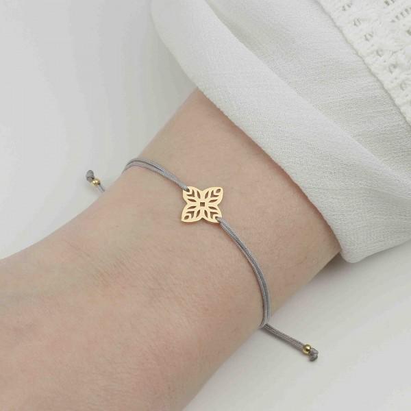 Armband Blumensymbol 925 Silber vergoldet Hellgrau | Blüte Symbol
