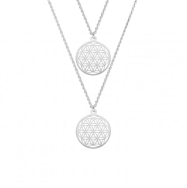 Mutter Tochter Lebensblume Halsketten Set 925 Silber ø 15 mm | Schmuck Blume des Lebens