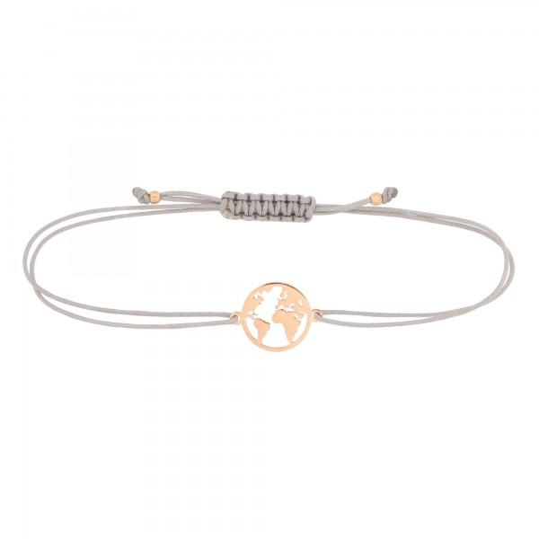 Armband Weltkarte 925 Silber rosevergoldet Hellgrau-Rosegold | Schmuck Welt Globus Weltkugel