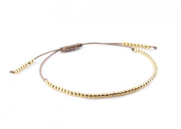 Kugelarmband 925 Silber vergoldet Gold-Taupe | Armband Kügelchen Kugeln
