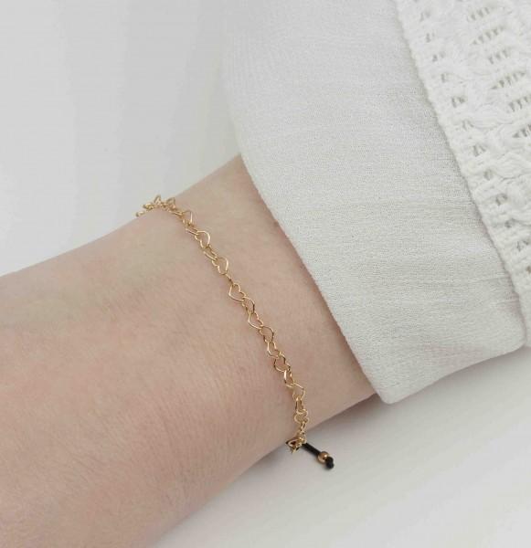 Armband Herzchen 925 Silber vergoldet | Freundschaftsarmband Herz