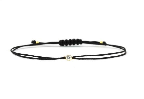 Damen Freundschaft Textil-Armband Zirkonia 925 Silber vergoldet | Schwarz-Gold Individualisierbar