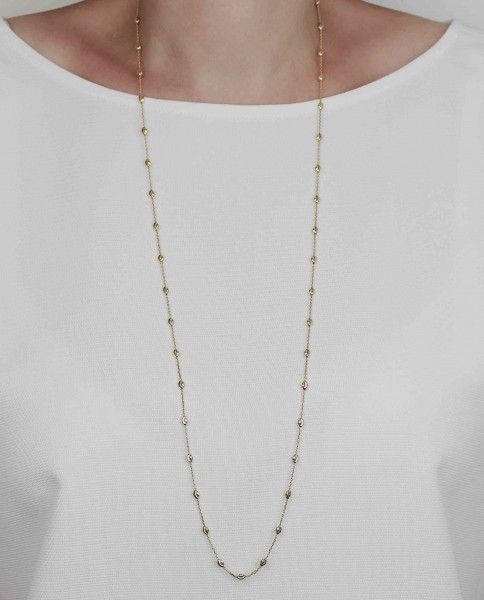Lange Halskette in Gold 925 Silber vergoldet | Kugelkette