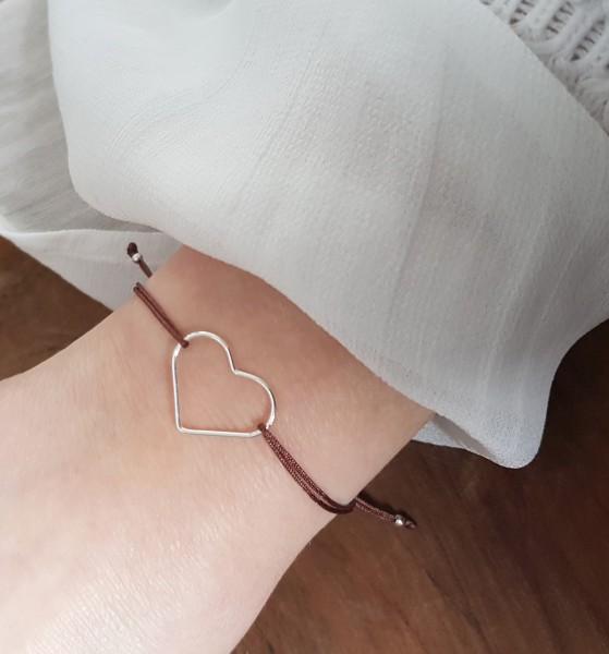 Freundschaftsarmband Herz 925 Silber Braun-Silber| Liebe Schmuck Valentinstag