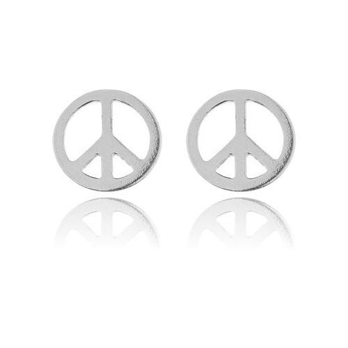 Ohrstecker Friedenszeichen Peace 925 Silber | Hippie Ohrringe
