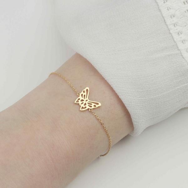 Armband Schmetterling 925 Silber vergoldet