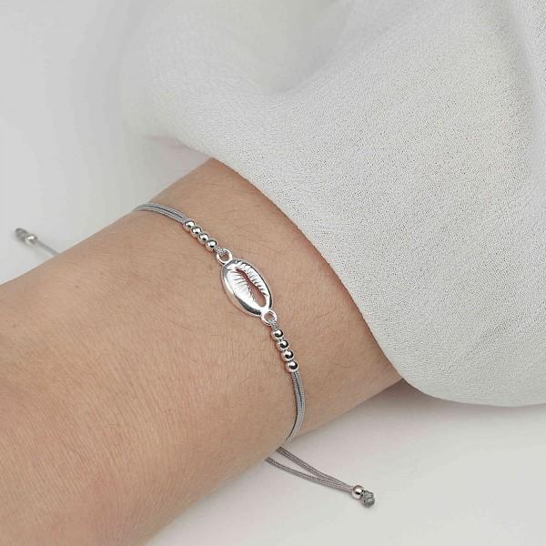 Armband Muschel Kauri 925 Silber | Schmuck Muschelarmband Kaurimuschel Muschelschmuck