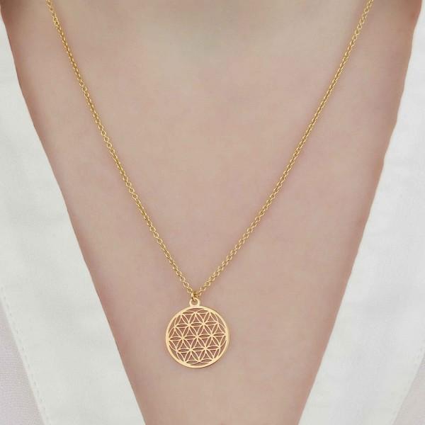 Halskette mit Blume des Lebens Anhänger 925 Silber vergoldet ø 15 mm | Kette Lebensblume Schmuck