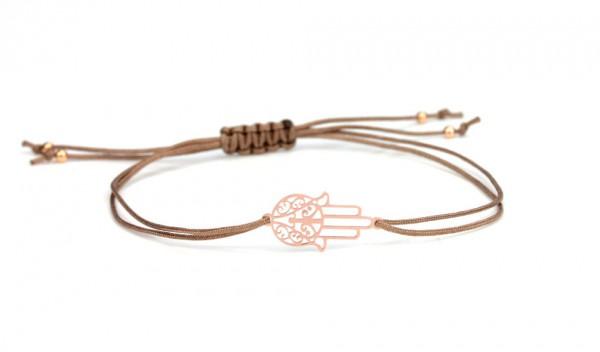 Symbol Armband - Hamsa - Fatimas Hand , Taupe-Rosegold, 925 Silber rosevergoldet