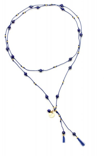 Lapislazuli Halskette Perlseide, Blau-Gold