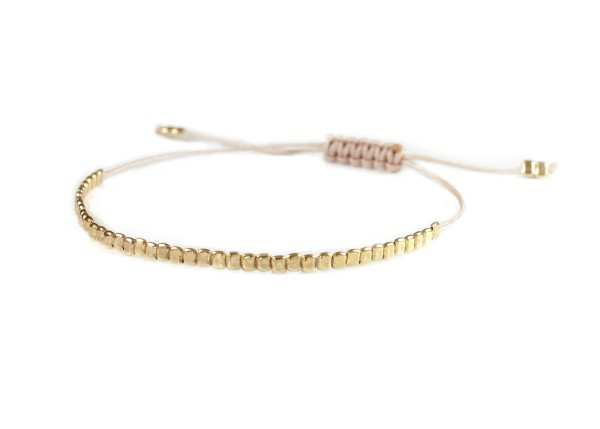 Textilarmband mit 925 Silber-Elementen Gold-Nude | Armband personalisierbar