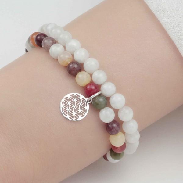 Lebensblume Armbänder Set 925 Silber - Regenbogenmondstein und Bergkristall