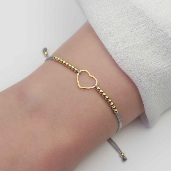 Armband Herz Silberperlen 925 Silber vergoldet hellgrau | Kugelarmband Liebe Freundin BFF