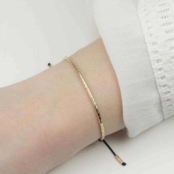 Armband Basic Tubes 925 Silber vergoldet Schwarz-Gold