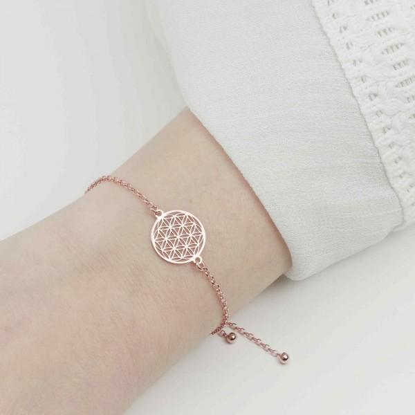 Armkette Blume des Lebens 925 Silber rosevergoldet verstellbar / Armband Lebensblume