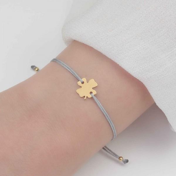 Textilarmband Kleeblatt 925 Silber vergoldet hellgrau / Armband Schmuck Klee Trifolium