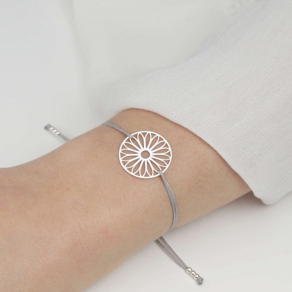 Armband Tausendschön Blume 925 Silber Grau-Silber   Schmuck Gänseblümchen