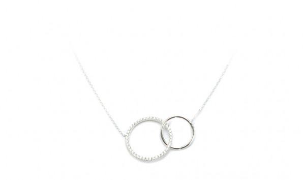 Halskette mit zwei Kreis Anhänger, 925 Silber