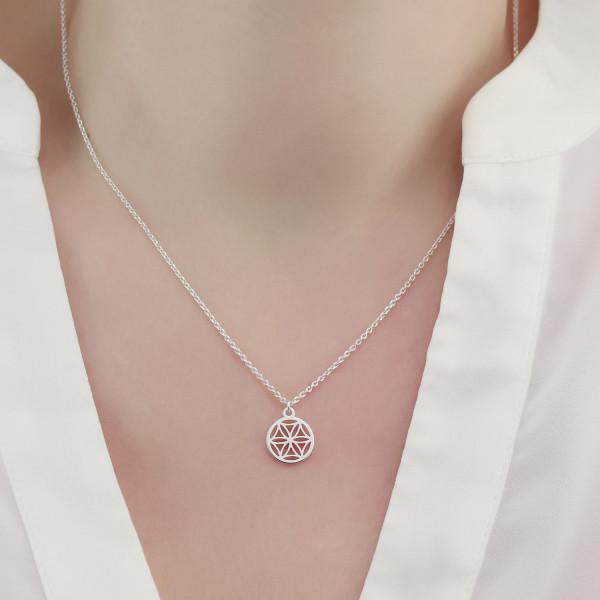 Halskette kleine Lebensblume 925 Silber ø 10 mm | Kette mini Blume des Lebens Anhänger