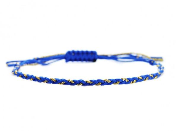 Handgeflochtenes Textilarmband, Blau-Gold