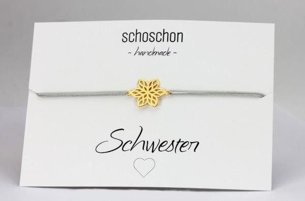 Blume Symbol Armband Gold-Hellgrau 925 Silber vergoldet | Freundschaft Schwester Schmuck