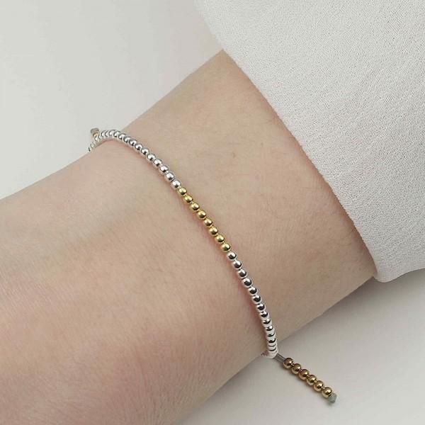 Kugelarmband Mix 925 Silber vergoldet | Armband Kügelchen Kugeln
