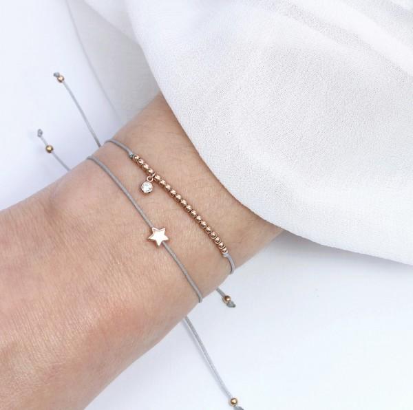 Symbol Armband Set Stern/Zirkonia Rosegold-Grau, 925 Silber rosevergoldet