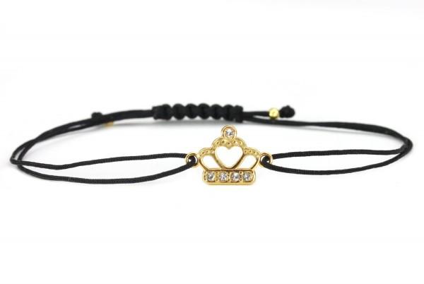 Stoffarmband Krone 925 Silber vergoldet Zirkonia Schwarz-Gold | Armband Krönchen mit Farbauswahl