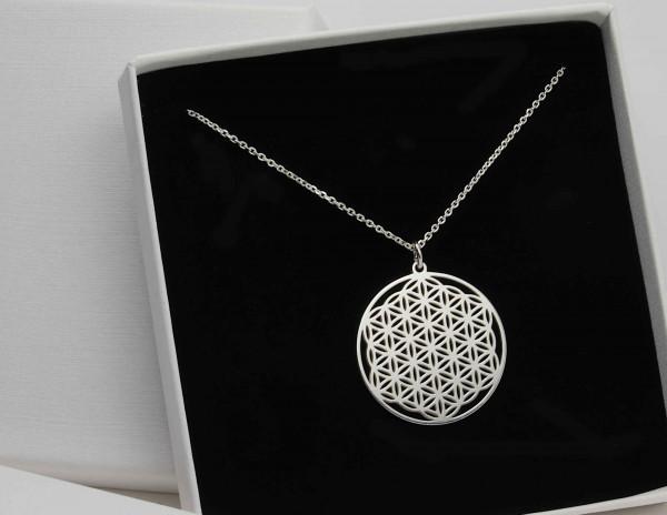 Halskette BLUME DES LEBENS Anhänger ø 2,5 cm- Lebensblume Geschenk Mama
