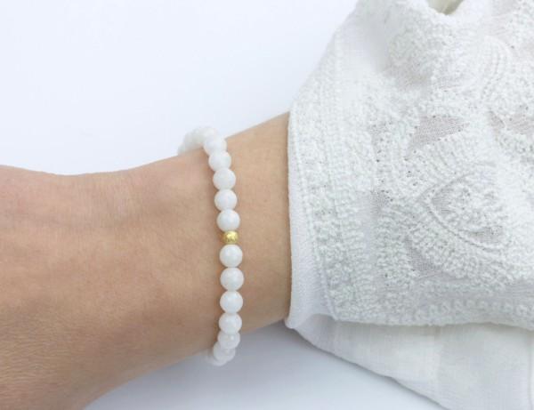 Quarzit Armband, Weiß-Gold
