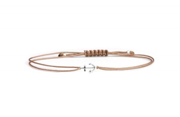 Anker Symbol Armband, Silber-Taupe | Freundschaftsarmband Schmuck