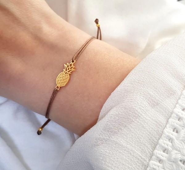 Armband Ananas 925 Silber vergoldet - Taupe | Freundschaftsarmband Symbol Schmuck Ostergeschenk