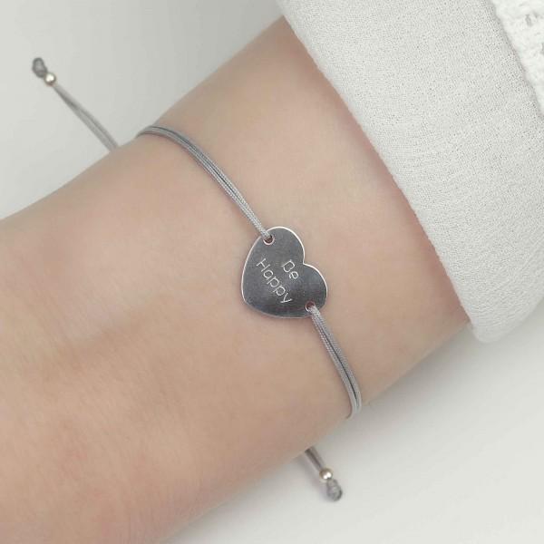 Armband Herz 925 Silber Hellgrau mit individueller Gravur | Schmuck Gravurtext