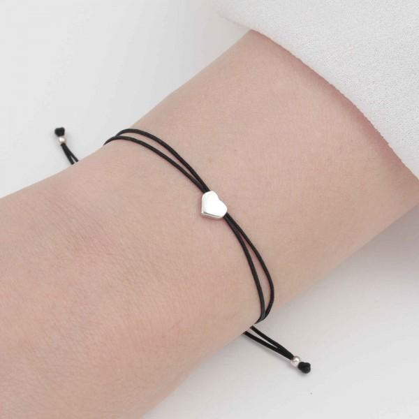 Freundschaftsarmband Herz Symbol in Silber-Schwarz 925 Silber | Textil BFF Armband