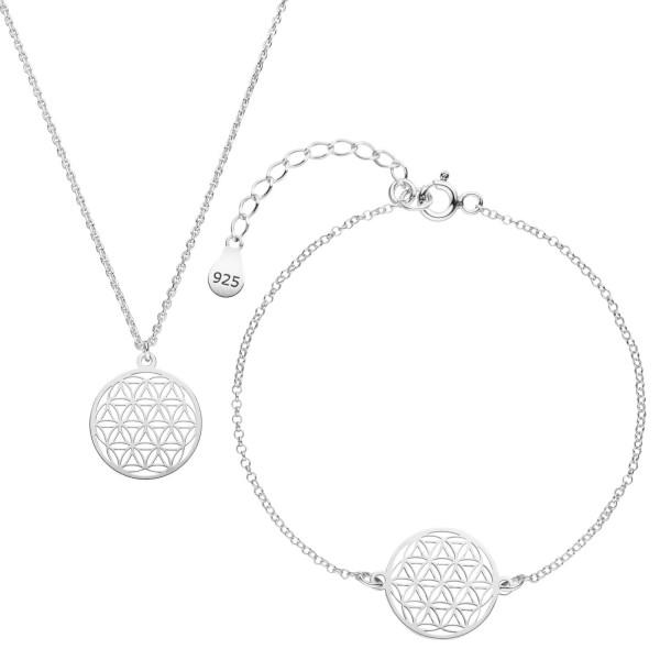 Blume des Lebens Schmuckset Halskette Armband 925 Silber | Set Lebensblume Geschenkbox